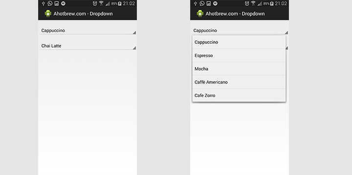 Android dropdown example