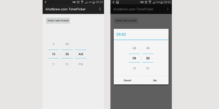 Android Timepicker Example - ahotbrew | Android development